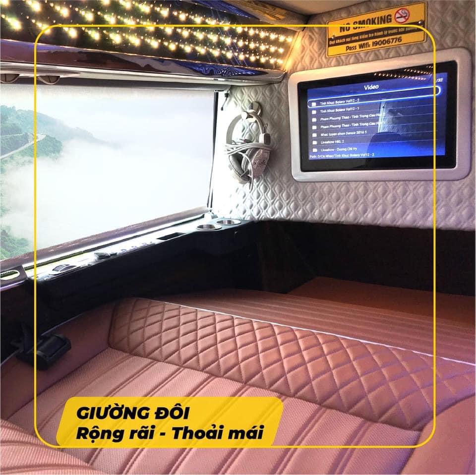 Xe giường nằm Hà Nội đi Sapa - Phòng cabin đôi sang trọng, tiện nghi của hãng xe cabin đôi Hà Sơn - Hải Vân