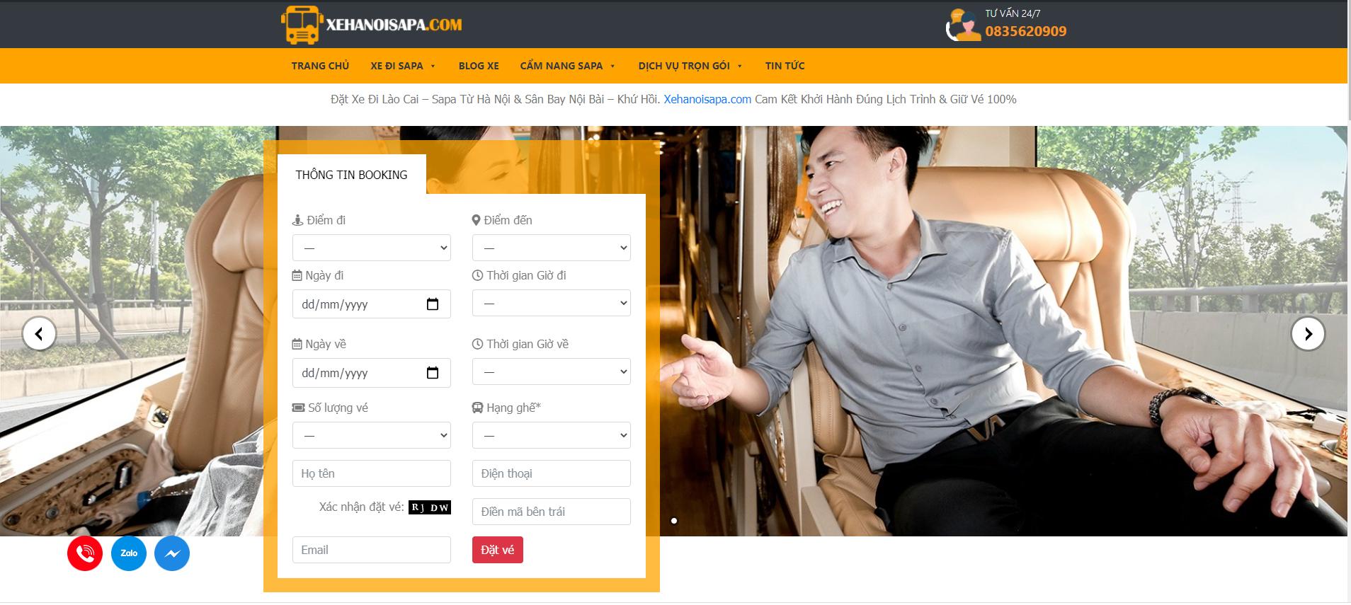 Booking online tại Xehanoisapa.com - Nhanh chóng - tiện lợi